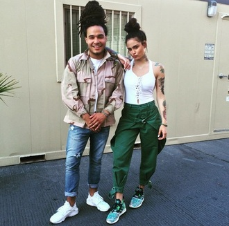 jeans green army green joggers pants kehlani