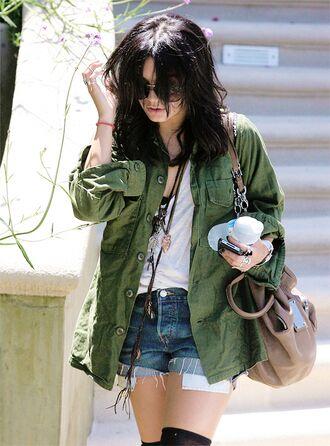 jacket vanessa hudgens t-shirt shorts sunglasses jeans army green jacket bag fashion retro