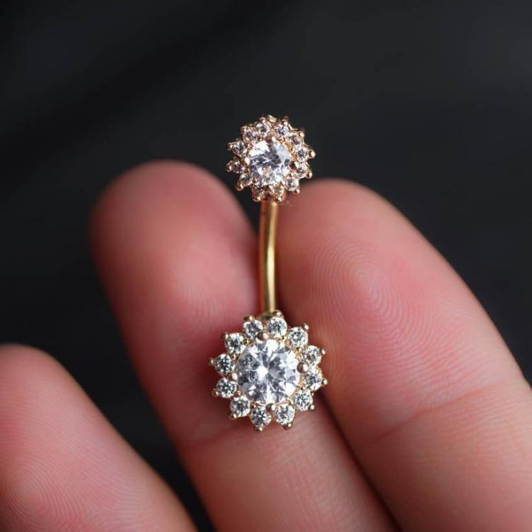 Clear Zircon Flower Belly Ring Belly Button Piercing Flower Belly Rings Navel Piercing