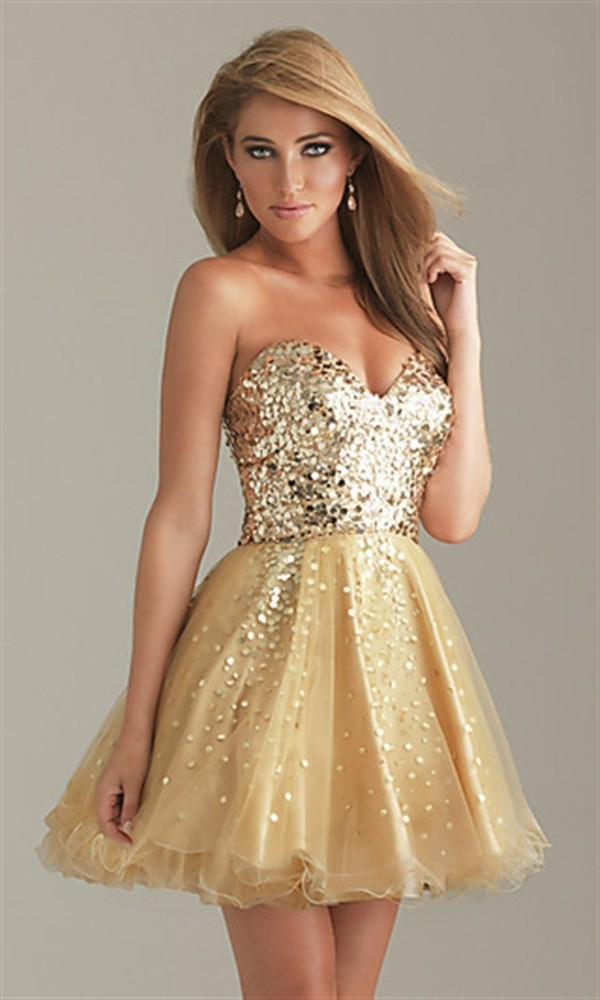 dress gold prom dress strapless gold dress sparkle sequins sparkle short