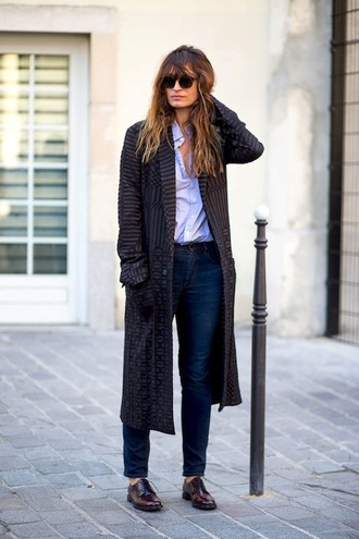 le fashion image blogger jacket coat shirt jeans printed long coat caroline de maigret fashionista winter coat printed coat blue shirt denim blue jeans sunglasses shoes brown shoes fall outfits bangs black coat long coat