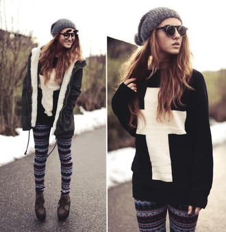 sweater cross black and white jacket