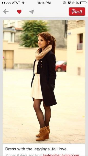 dress cream coat scarf shoes long coat everything jacket fall dress cream dress flouncing  dress cardigan