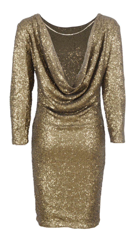 Cima mode's ladies celeb kim gold sequin back drape backless dress chain