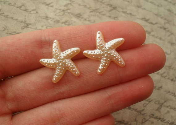 pearl orange starfish earrings // studs post by addieladawn