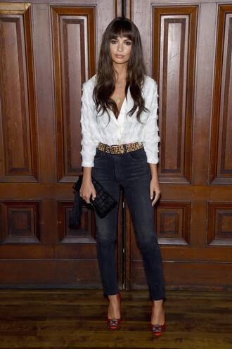 blouse pumps jeans nyfw 2017 ny fashion week 2017 model off-duty emily ratajkowski shoes white white shirt top