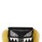 Monster micro baguette leather bag w/fur