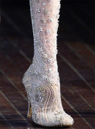 shoes beaded boots high heels boots embellished boots alexander mcqueen