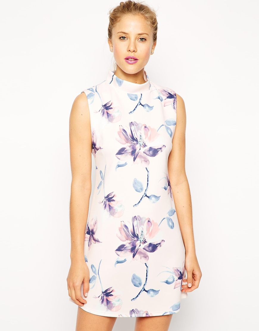 ASOS Shift Dress with High Neck in Scuba Floral Print at asos.com