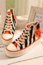 shoes,orange,stripes,sneakers,studs
