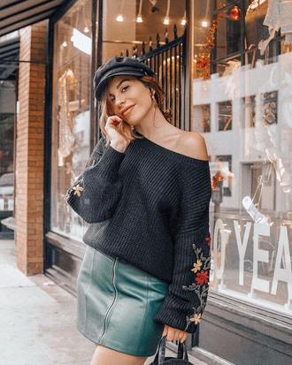 skirt tumblr mini skirt zip zipped skirt green skirt sweater black sweater knit knitwear knitted sweater hat fisherman cap