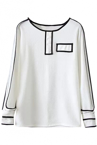 blouse modernist contrast trim textured top long sleeves