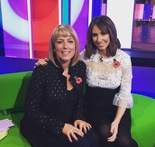 jacket,fay ripley,studded,black,celebrity,one show,the one show,alex jones,tv,pretty,cute