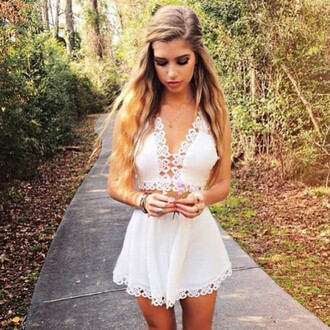 dress haute rogue crop tops halter top white top crochet top summer top summer sets two-piece high waisted shorts white shorts white blouse lace tops open back