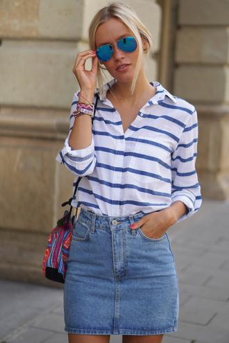 jolie janine blogger denim skirt striped shirt blue sunglasses