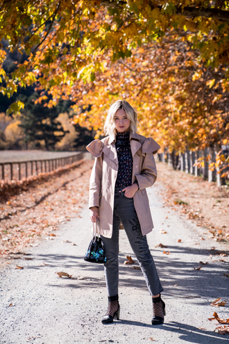 late afternoon blogger blouse coat jeans bag shoes winter outfits fall outfits trench coat
