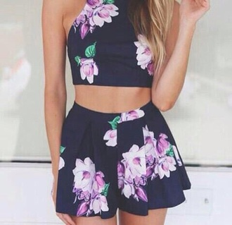 dress floral top and skirt matching set