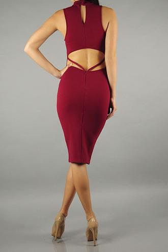 dress high neck turtleneck midi bodycon open back cut-out straps keyhole sleeveless trendyish