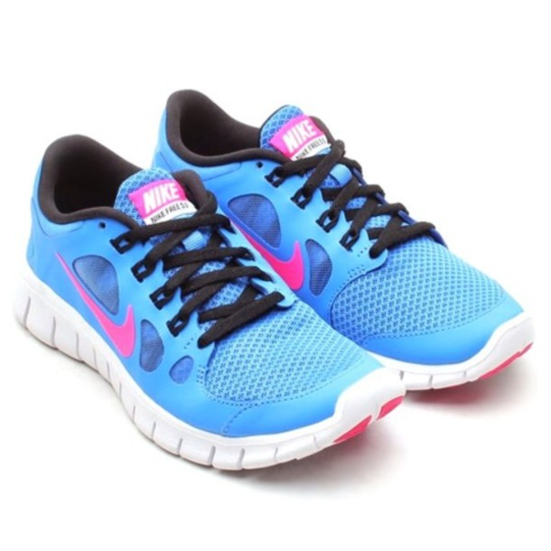 shoes nike free run blue pink wheretoget