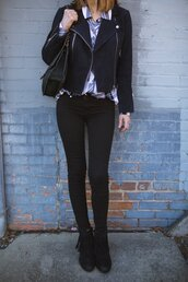 themiddlepage,blogger,jacket,shirt,jeans,shoes,sunglasses,bag,black jacket,skinny jeans,black jeans,ankle boots,fringe shoes