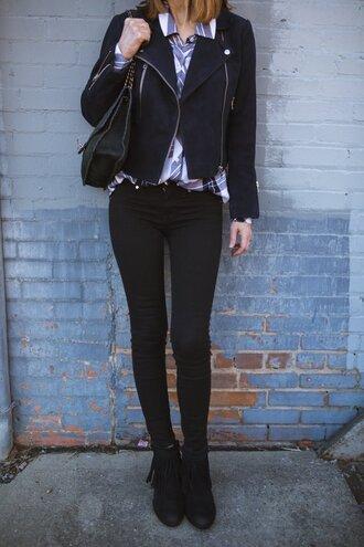 themiddlepage blogger jacket shirt jeans shoes sunglasses bag black jacket skinny jeans black jeans ankle boots fringe shoes