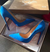 shoes,blue,heels,high heel pumps,louboutin