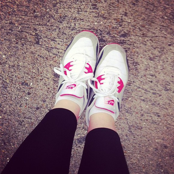pink pink and white shoes trainers white nike sneakers air max pink white