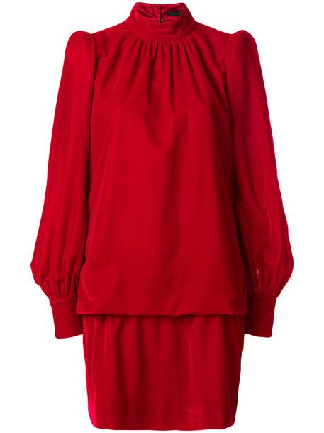 Marc Jacobs dress high women high neck silk red