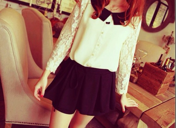 white lace black cute blouse skirt white lace collar laced fancy kawaii lovely black skirt