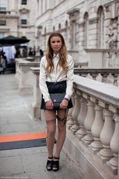 sheer stockings,white button up top,black skirt,underwear