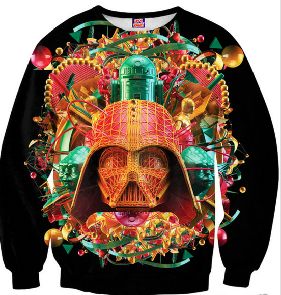 star wars r2d2 darth vader crewneck printed sweater awesomness bright colours