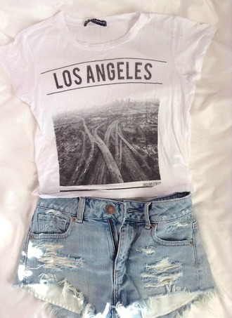 t-shirt shorts shirt high waisted shorts light washed denim high waisted denim shorts high waisted los angeles top los angeles losangeles grey cute white city buildings street tumblr summer hot top black los angeles shirt blouse california graphic tee