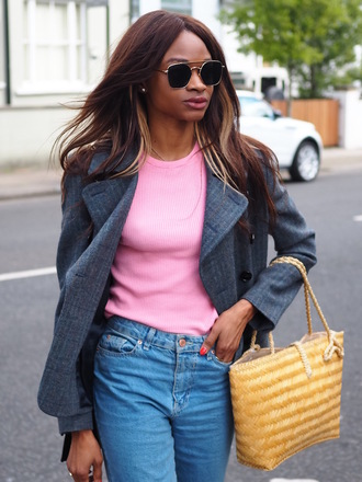 symphony of silk blogger jacket bag jeans shoes blouse t-shirt coat pink top blazer grey jacket spring outfits