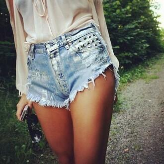 shorts studded shorts blouse