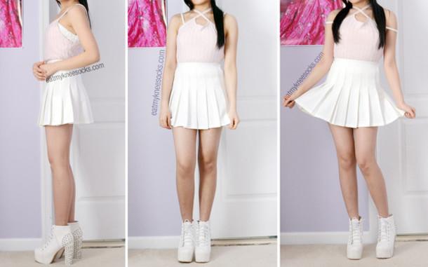 5fc317ca5 skirt, kozy, girly, cute, high waisted, tennis skirt, white ...