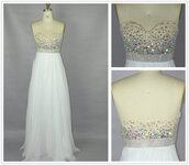 dress,white,chiffon,pretty,cute,prom,white dress,chiffon dress,sequins,sequin dress,prom dress,homecoming,homecoming dress