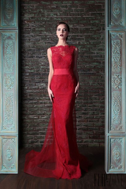 Dress: vestido, evening dress, sexy evening dresses red, mermaid ...