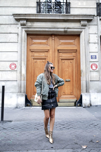 b a r t a b a c blogger shoes jewels sunglasses bag zipped skirt bomber jacket ankle boots shoulder bag gold boots gold shoes jacket tumblr army green jacket khaki bomber jacket skirt mini skirt black skirt black leather skirt leather skirt boots metallic metallic shoes metallic boots