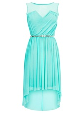 dress,aqua blue,high-low dresses,aqua,gorgeous,blue,silver belt,turquoise,sea blue,tiffany blue,cute,cute dress,lovely,adorable dress,india love,india westbrooks,tiffayblue,light blue or teal,turquoise dress,gold belt,seafoam green