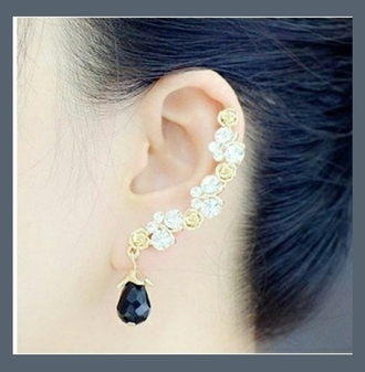 jewels earrings golden roses black stone crystal original