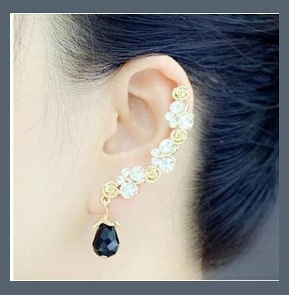 jewels earrings golden roses black stone crystal quartz original