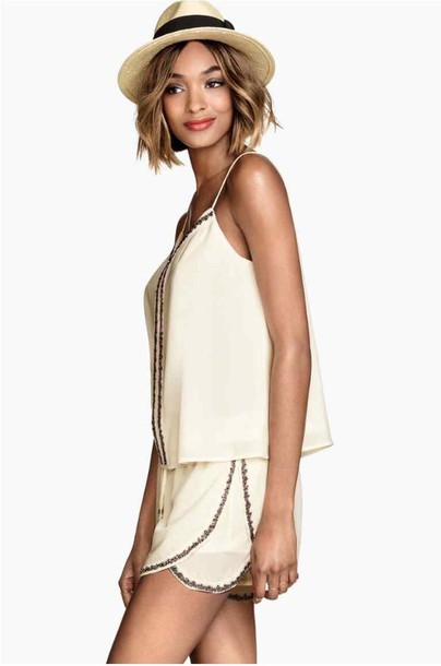 jumpsuit shorts tank top beige dress pearl outfit blouse t-shirt