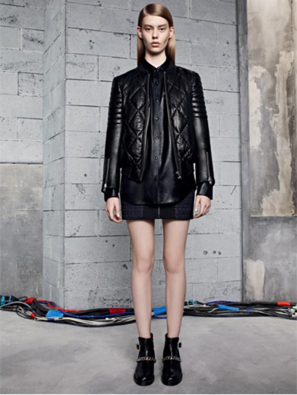 jacket sandro lookbook black blouse skirt