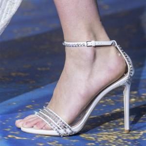 White Rhinestones Stiletto Heel Ankle Strap Sandals