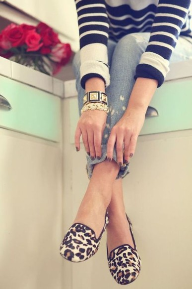 shoes jeans sweater bracelets loafers jewels leopard print