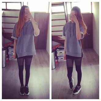 sweater style grey sweater blue shirt black skirt overknee socks overknees tights tulle skirt