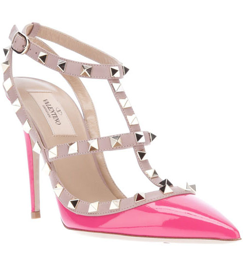 Valentino Rockstud 100mm Fuchsia Pink Patent Leather T-Strap San [1033] - $180.00 : Valentino outlet,Valentino Online Store