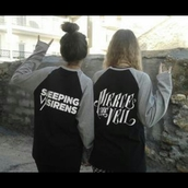 sweater,pierce the veil,sleeping with sirens hoodie,crewneck,sws ptv,sleeping with sirens,shirt,band,fanstuff,black,white