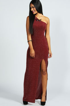 Lucy Metalic One Shoulder Front Slit Maxi Dress at boohoo.com