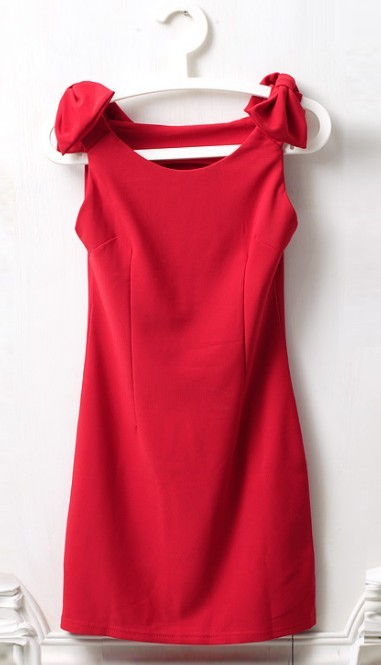 Red Round Neck Sleeveless Shoulder Bow Dress - Sheinside.com